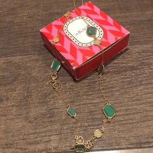 Stella&Dot long gold necklace with green stones